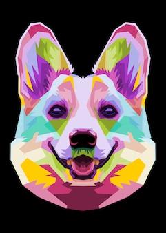 Ikona głowy kolorowy pies corgi w stylu pop-art