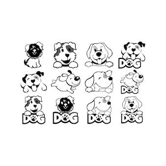 Ikona głowy psa. kreskówka głowa pies twarz. pies koncepcja logotypu. inspiracja logo design head d