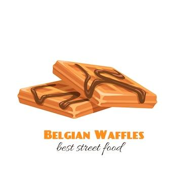 Ikona gofry. deser belgijski lub wiedeński z syropem