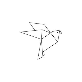 Ikona gołębia origami w modnym minimalistycznym stylu liniowym. składane figurki ptaków z papieru. ilustracja wektorowa do tworzenia logo, wzorów, tatuaży, plakatów, nadruków na koszulkach