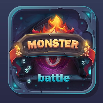Ikona gui bitwy potwora - kreskówka stylizowana ilustracja z przyciskiem tekstowym, nazwa gry.