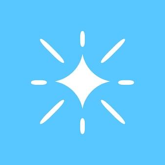 Ikona gwiazdy wektor błyszczy w prostym stylu na niebieskim tle