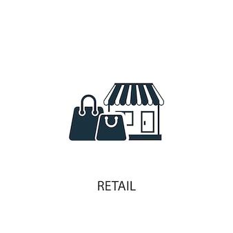 Ikona handlu detalicznego. prosta ilustracja elementu. projekt symbolu koncepcji detalicznej. może być używany w sieci i na urządzeniach mobilnych.