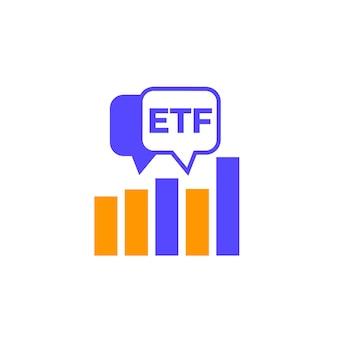 Ikona handlu etf z wykresem, fundusze etf, wektor