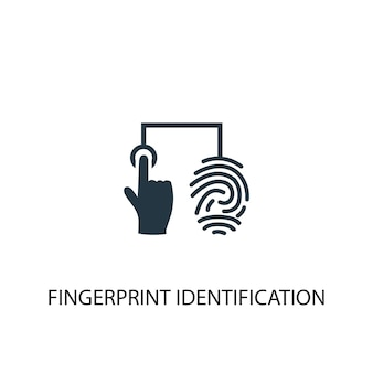 Ikona identyfikacji odcisków palców. prosta ilustracja elementu. projekt symbolu koncepcji identyfikacji linii papilarnych. może być używany w sieci i na urządzeniach mobilnych.