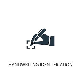 Ikona identyfikacji pisma ręcznego. prosta ilustracja elementu. projekt symbolu koncepcji identyfikacji pisma ręcznego. może być używany w sieci i na urządzeniach mobilnych.