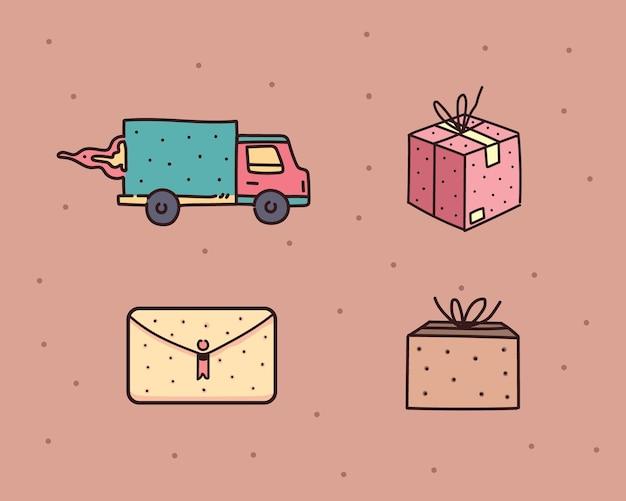 Ikona ilustracja dostawy. usługa dostawy online. dostawa do domu
