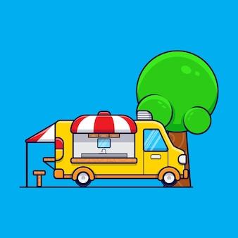 Ikona ilustracja kreskówka ciężarówka żywności