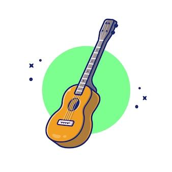 Ikona ilustracja kreskówka gitara akustyczna muzyka. koncepcja ikona instrument muzyczny białym tle premium. płaski styl kreskówki