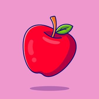 Ikona ilustracja kreskówka jabłko owoc. koncepcja ikona owoce żywności na białym tle. płaski styl kreskówki