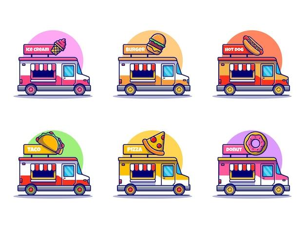 Ikona ilustracja kreskówka kolekcja ciężarówki żywności.