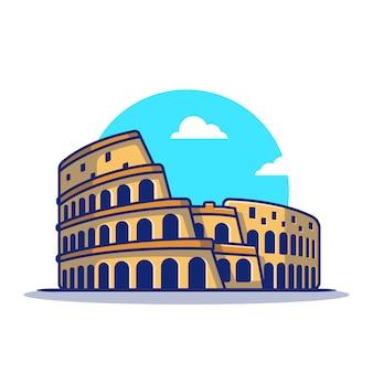 Ikona ilustracja kreskówka koloseum. słynny budynek podróży ikona koncepcja na białym tle. płaski styl kreskówki