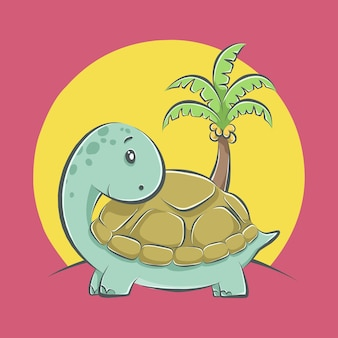 Ikona ilustracja kreskówka ładny żółw