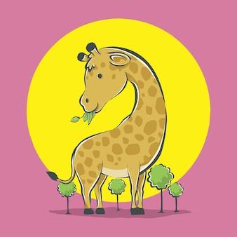 Ikona ilustracja kreskówka ładny żyrafa