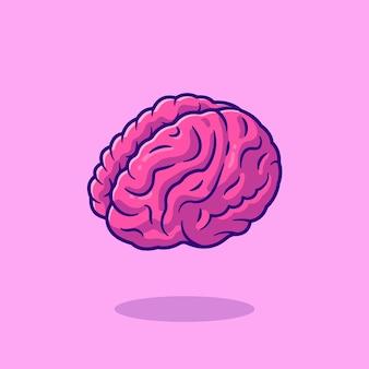 Ikona ilustracja kreskówka mózgu. koncepcja ikona obiektu edukacji.