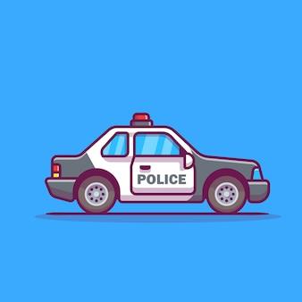 Ikona ilustracja kreskówka samochód policyjny.