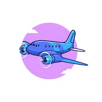 Ikona ilustracja kreskówka śmigła samolotu. koncepcja ikona transportu lotniczego izolowana premium. płaski styl kreskówki