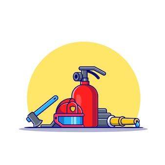 Ikona ilustracja kreskówka sprzęt strażaka. koncepcja ikona strażak na białym tle. płaski styl kreskówki