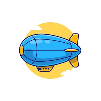 Ikona ilustracja kreskówka sterowiec. koncepcja ikona transport lotniczy izolowana premium. płaski styl kreskówki