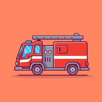 Ikona ilustracja kreskówka wóz strażacki.