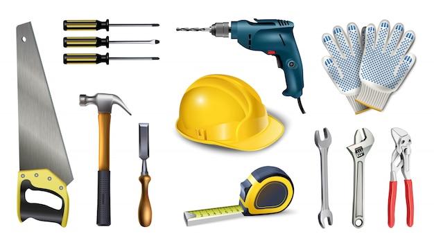 Ikona ilustracja naczynia pracownika. na białym tle. instrumenty, miernik, wkrętarka, wiertarka,