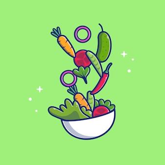 Ikona ilustracja sałatka jarzynowa. zdrowe jedzenie . pojęcie opieki zdrowotnej ikona na białym tle