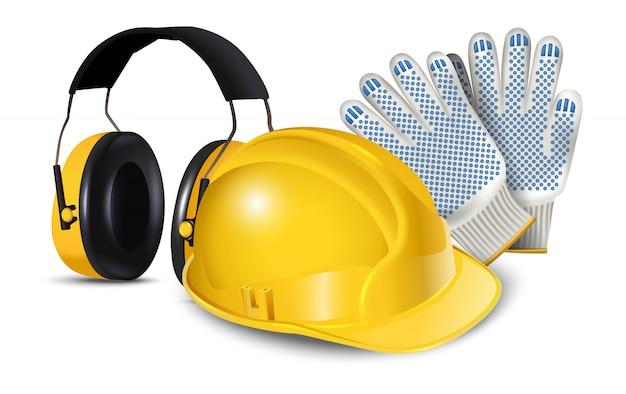 Ikona ilustracja sprzętu bezpieczeństwa pracownika, kask, słuchawki i rękawiczki. na białym tle