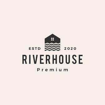 Ikona ilustracja vintage logo dom rzeki