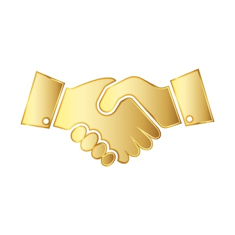 Ikona ilustracja złoty uścisk dłoni