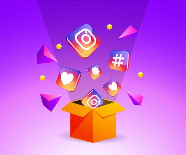 Ikona instagram po wyjęciu z pudełka koncepcja mediów społecznościowych