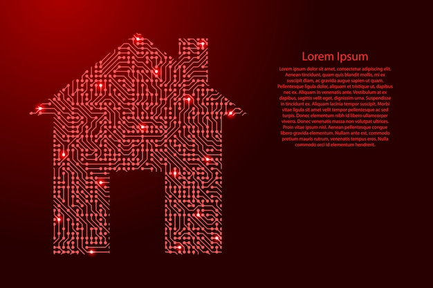 Ikona inteligentnego obrazu domu z płytki drukowanej, układu scalonego i komponentu radiowego z czerwoną przestrzenią gwiazdkową na szablonie konturu