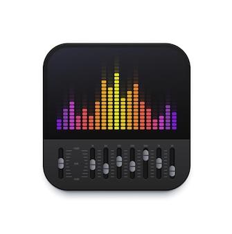 Ikona interfejsu korektora dźwięku muzyki, aplikacja fali dźwiękowej wektorowej miksera utworów dj. ikona korektora dźwięku muzyki dla podcastów lub basów głośności radia i aplikacji tunera do nagrywania lub odtwarzacza cyfrowego