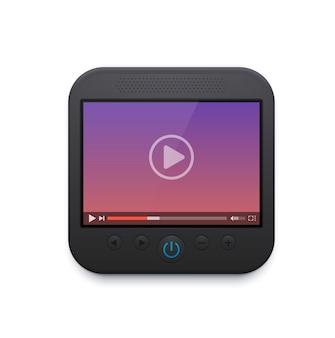 Ikona interfejsu odtwarzacza filmów i wideo, projekt wektorowego interfejsu użytkownika, przycisk odtwarzania na ekranie, pasek menu, suwak, nawigacja dźwiękowa i ustawienia. cyfrowe treści multimedialne online odtwarzające znak 3d dla aplikacji