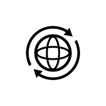 Ikona internetu. światowa ikona kuli ziemskiej. okrągły glob z 2 strzałkami synchronizacji wokół ikony. sylwetka symbol świata. ikony świata. wektor eps 10. na białym tle