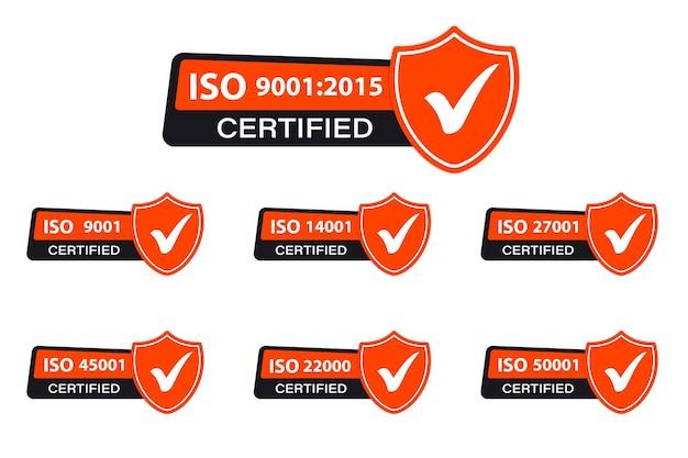 Ikona iso. certyfikowany zestaw znaczków z symbolem iso. oryginalna certyfikowana oficjalna kolekcja wzorów iso. certyfikowana odznaka, ikona. pieczęć certyfikacji, odznaka certyfikowana