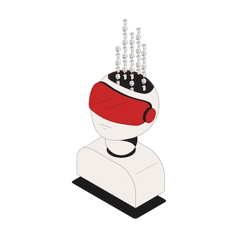 Ikona izometryczna bezpieczeństwa cybernetycznego z kodem binarnym w postaci głowy ilustracja 3d
