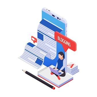 Ikona Izometryczna Blogowania Z Postacią Do Pisania Postu 3d Darmowych Wektorów
