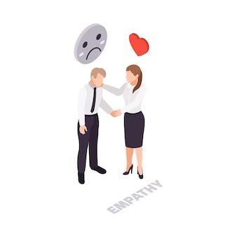 Ikona izometryczna empatii umiejętności miękkich z kobietą uspokajającą swojego kolegę 3d