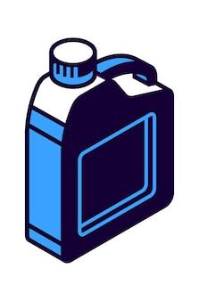 Ikona izometryczna kanistra benzyny, ilustracja pojemnika do przechowywania cieczy