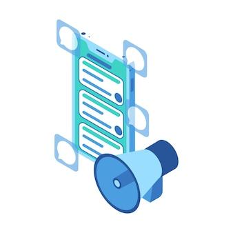 Ikona izometryczna reprezentująca czaty z megafonem i smartfonem w marketingu posprzedażowym