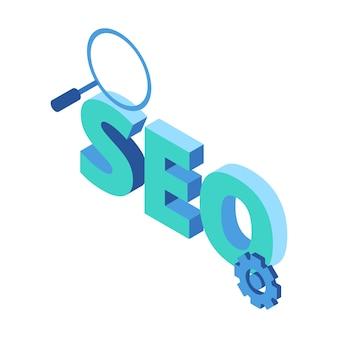 Ikona izometryczna reprezentująca optymalizację pod kątem wyszukiwarek seo