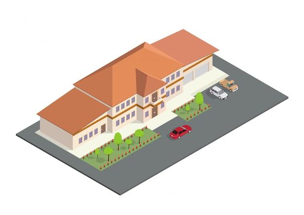 Ikona izometryczna reprezentuje nowoczesny dom