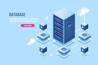 Ikona izometryczna serwerowni, połączenie z bazą danych, przesyłanie danych na zdalnym magazynie w chmurze, stojak serwerowy,