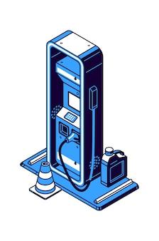 Ikona izometryczna stacji benzynowej, tankowanie z symbolem benzyny lub oleju napędowego