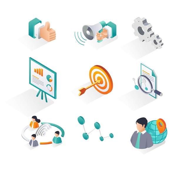 Ikona izometryczna ustawia marketing i strategię w mediach społecznościowych