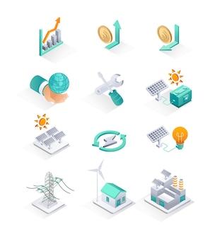 Ikona izometryczna ustawia panele słoneczne i energię elektryczną