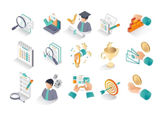 Ikona izometryczna ustawia szkolenie edukacyjne i powrót do szkoły