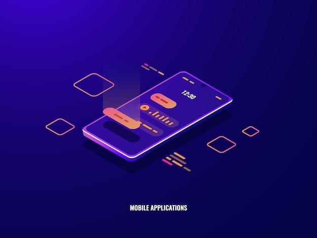 Ikona izometryczna wiadomości przychodzącej, telefon komórkowy z dialogiem czatu na ekranie, wiadomość głosowa