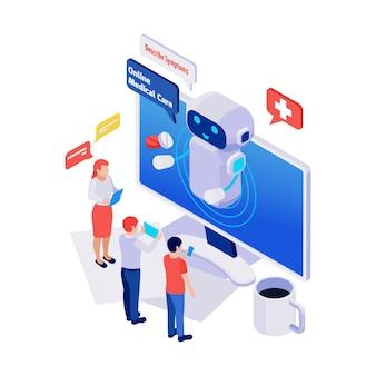 Ikona izometryczna z chatbotem usługi opieki medycznej online, rozmawiającym z ludźmi 3d