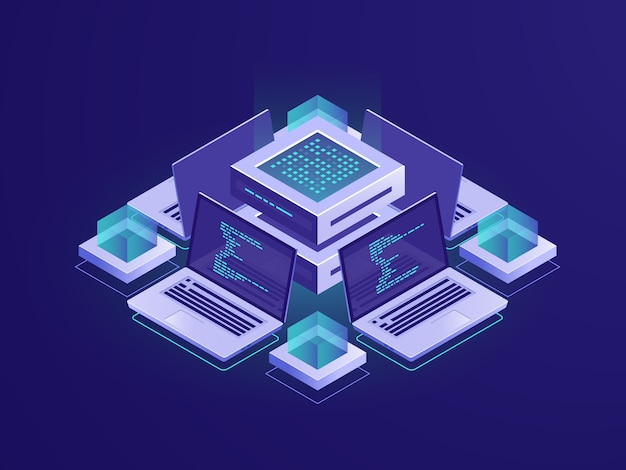 Ikona izometryczne sztucznej inteligencji, serwerowni, centrum danych i koncepcja bazy danych